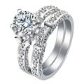 Родий кольца наборы посеребренные ювелирный магазин груза падения подарок для женщин AAAA cz принцесса свадебные обручальные обещание КОЛЬЦА