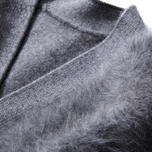 Image 5 - BAHTLEE Winter womens Angora cardigans Sweater knitted Mink cashmere V Neck Button Pocket Very Thick Keep Warm