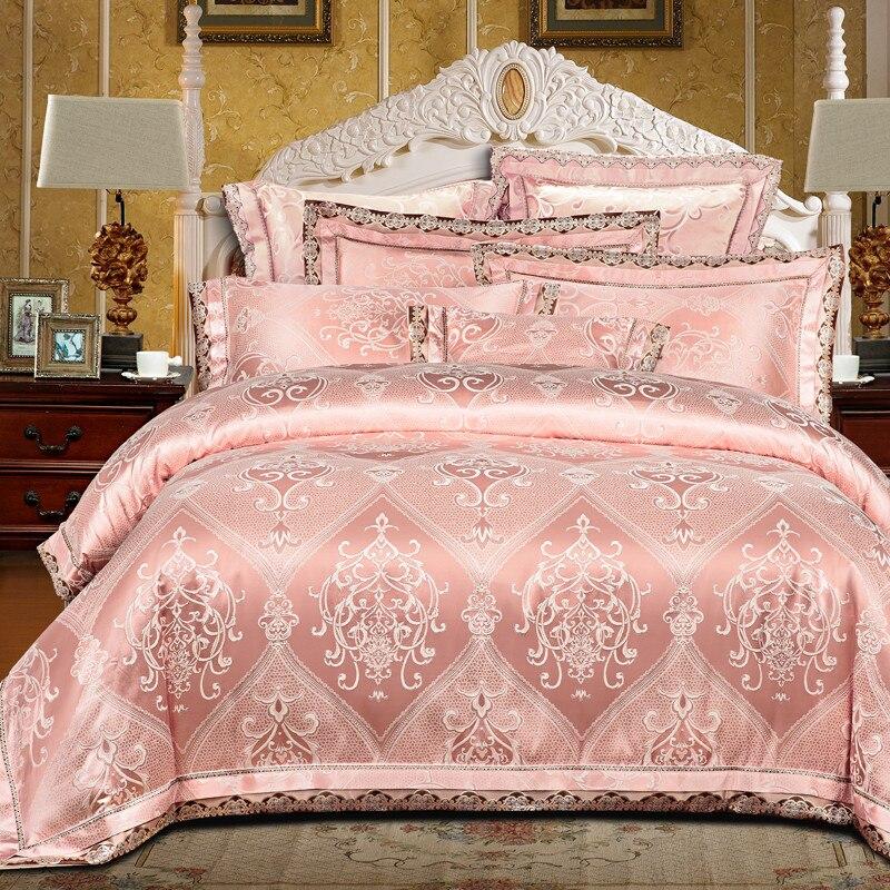 Ivarose bedding set regina king size nastro dorato di lusso jacquard stain bed set 4/6 pz copripiumino lenzuolo lamiera piana 28 - 4