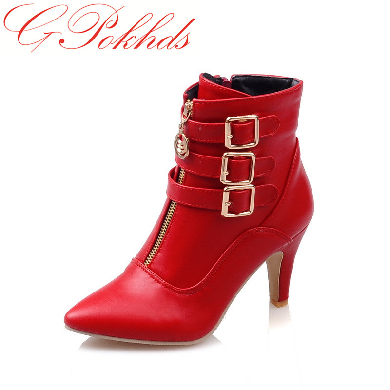 GPokhds New Shoes Women Boots High Heels Ankle Boots Pointed Toe Buckle Martin Boots Zip Ladies Shoes White Big Size enmayes ankle boots denim boots for women pointed toe buckle high boots new summer boots platform fashion wedding banquet martin