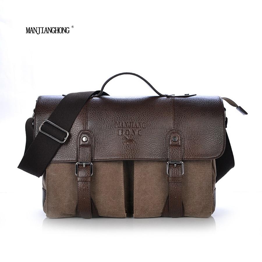 ФОТО 2017 Vintage Crossbody Bag Military Canvas + Genuine Leather Handbag Men messenger bag men leather Handbag tote Briefcase