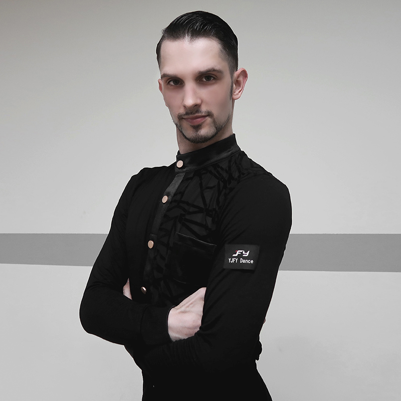 New Latin Shirts For Men Costumes Black Long Sleeve Top Tango/Standard Ballroom Male Competition Latin Dance Costumes VDB443