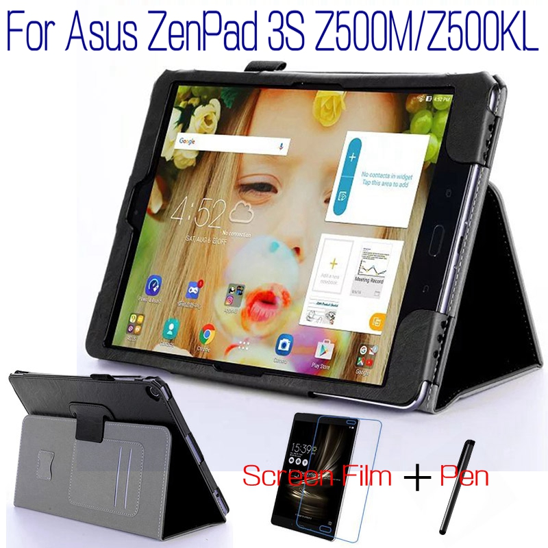 Fashion Top Quality Stand Smart PU Leather Cover for Asus ZenPad 3S 10 Z500M Z500KL 9.7 Tablet Case+Free Screen Protector+Pen asus zenpad 3s 10 z500m tablet pc