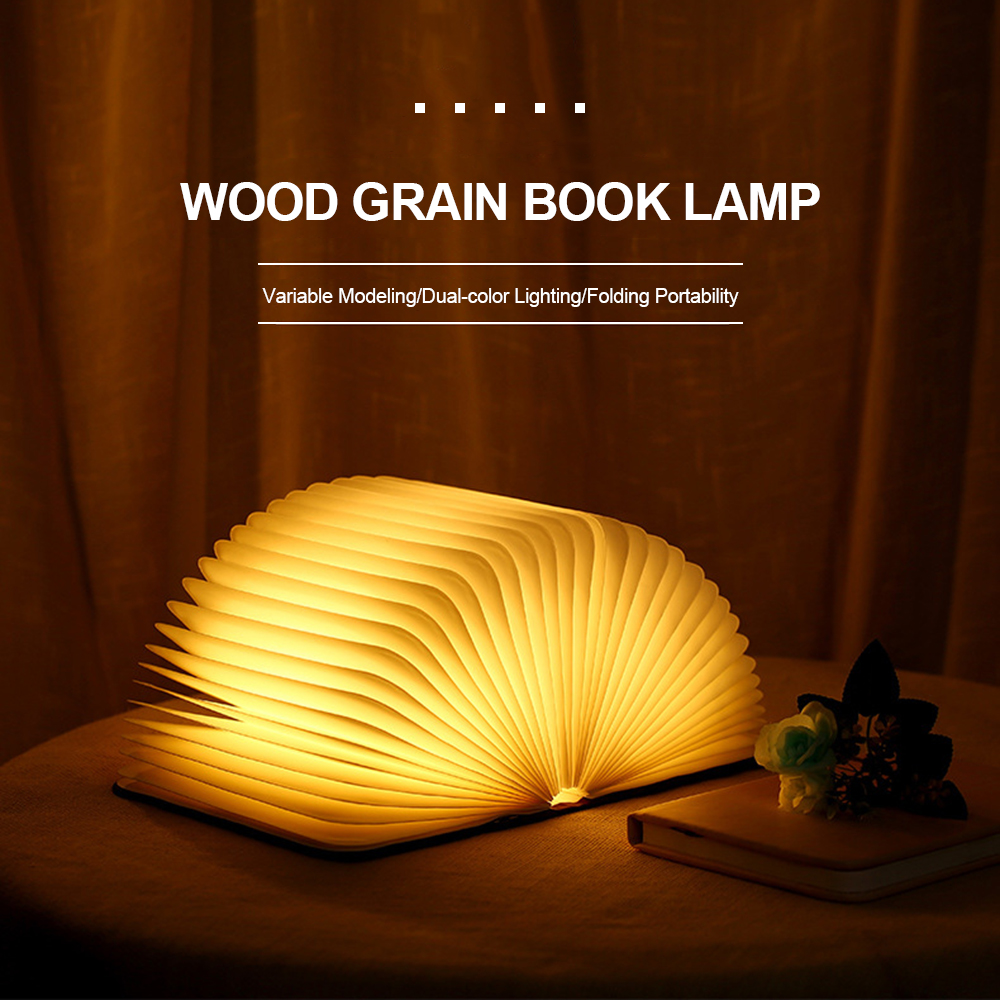 Portable USB Rechargeable LED Magnetic Foldable Wooden Book Lamp Night Light Desk Lamp Hot Sale For Home Decor Dropshipping
