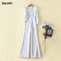 New 2018 Spring Summer Jumpsuits Women V Neck Golden Button Full Length Boot Cute Casual Elegant Jumpsuit Rompers White Overalls