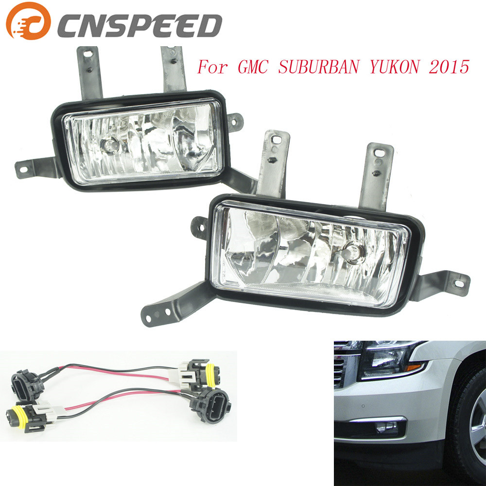 CNSPEED Fog light for GMC Suburban Yukon 2015 fog lamps Clear Lens Bumper Fog Lights Driving Lamps Daytime Running light fit for 15 17 gmc yukon denali front fog light lamp chrome bezel lh rh h3 12v 20w clear lens