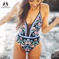 PLAVKY Sexy V Neck Vintage Floral High Cut Out Trikini Swim Wear Bathing Suit Monokini Thong
