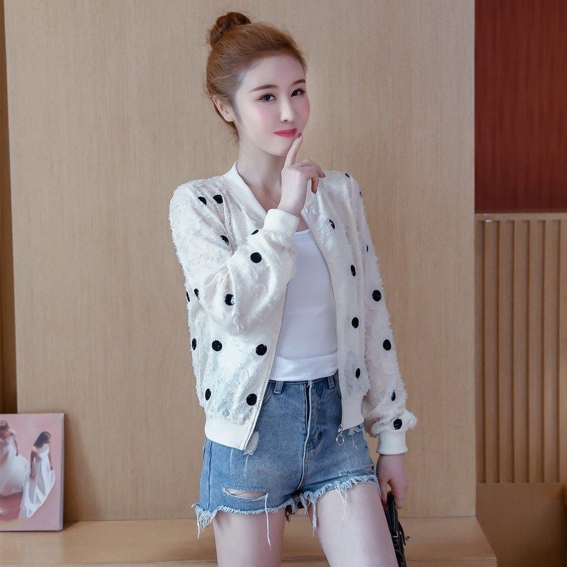 2019 Korean Slim Baseball Short Jacket Summer Casual White Thin Women's Bomber Jacket Polka Dot Dot Sunscreen Cardigan Jacket 36