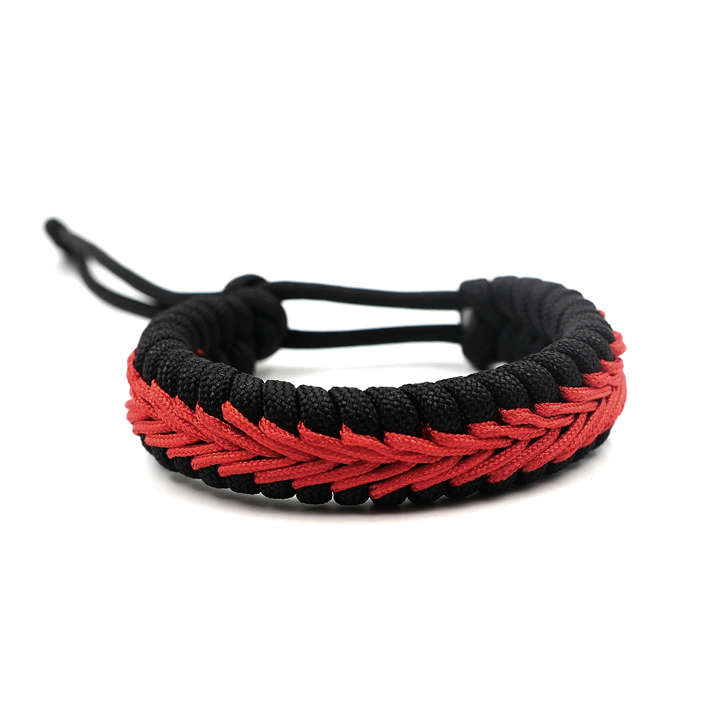 Adjustable Survival Emergency Black And Red 550 Paracord Bracelet Parachute Cord Bracelet Camping Hiking DIY Hand-made