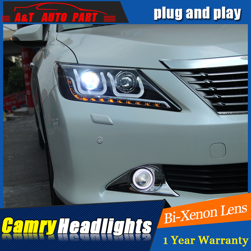 Car Styling For Toyota Camry Headlight assembly 2014-2015 New Camry V55 LED Headlight LED drl Double Beam H7 hid kit with 2pcs. car styling new arrival headlight for