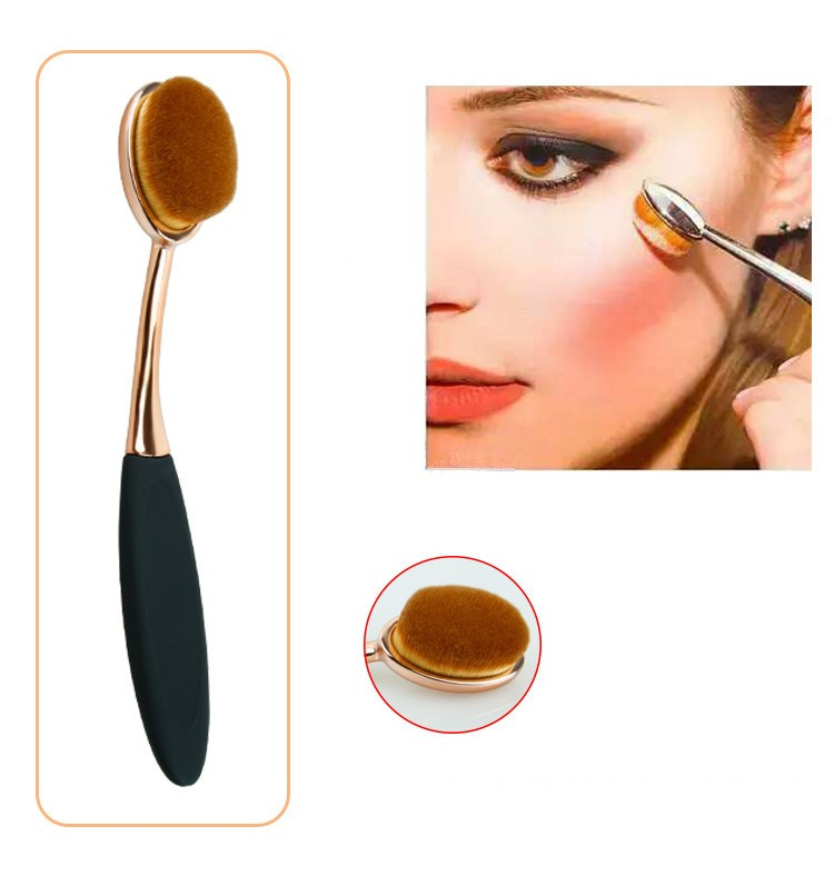 Toothbrush NEW Oval Shape Powder Foundation Makeup Brush Brushes Make up Eyebrow Beauty Tools Black Gold 10PCSset (6)
