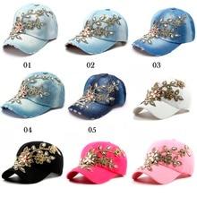Baseball Caps With Diamond Flower