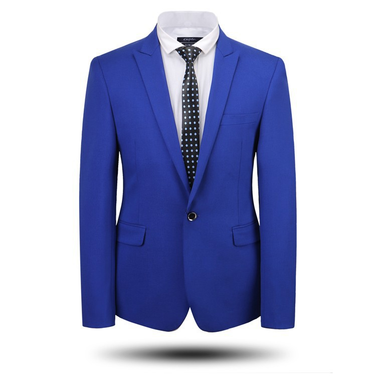 Men Slim Fit Male Dress Wool Business Formal Suit Mens Suit One Button Custom Made Light Blue ...