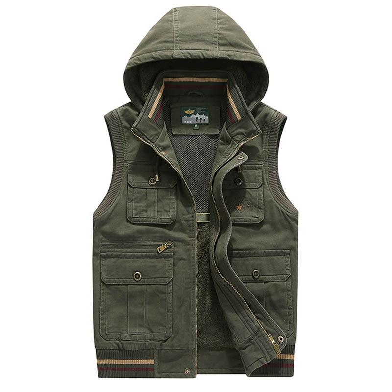 العلامة التجارية سترة الرجال الشتاء الصوف سميكة الدافئة صدرية الرجال مقنعين متعددة جيوب العسكرية Chalecos الفقرة Hombre Colete Masculino M 4XL-في سترات وصدريات من ملابس الرجال على  مجموعة 1