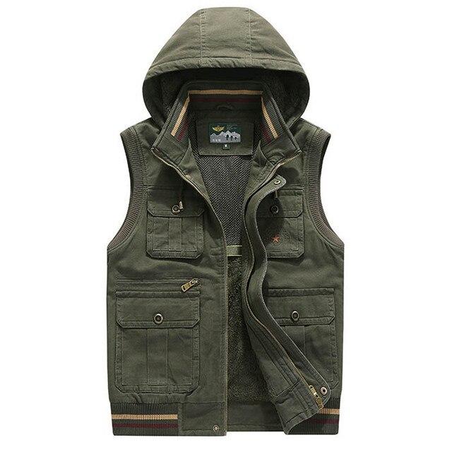 5fa018a2f63 Brand Vest Men Winter Fleece Thick Warm Waistcoat Men Hooded Multi Pockets  Military Chalecos Para Hombre Colete Masculino M-4XL