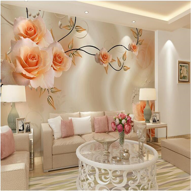 Large Painting Home Decor Silk Peony Flowers Hotel Background Modern Mural  For Living Room Murales De Pared 3d Wallpaper In Wallpapers From Home  Improvement ...