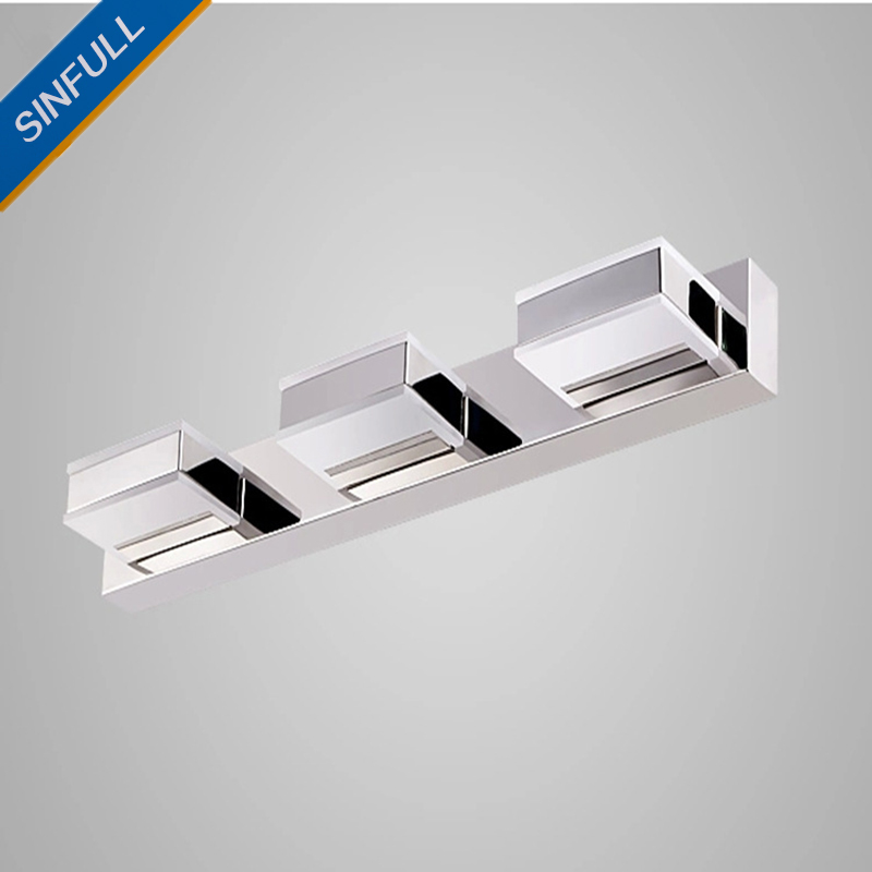 Bathroom Led Mirror Front Light Modern Waterproof Anti-fog Wall Lamp Makeup Room Simple Acrylic Led Indoor Home Lighting SINFULL modren acryl led mirror wall lamp waterproof and anti fog dressing room makeup mirror light fixture for bathroom toilet