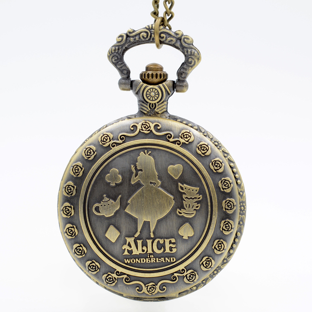 Fashion Alice in Wonderland Sculpture Bump Girl Pattern Quartz Pocket Watch Anal