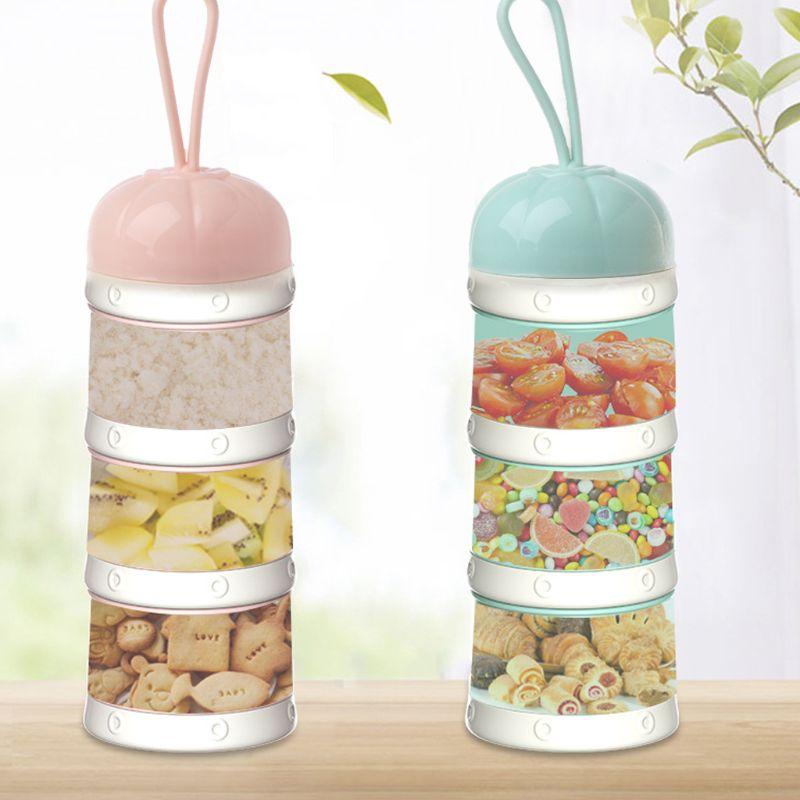 Flaschenzuführung Mutter & Kinder Nette Kürbis Baby Milch Pulver Box Lebensmittel Snack Box 3 Schichten Tragbare Infant Milch Pulver Container Formel Milch Lagerung Neue