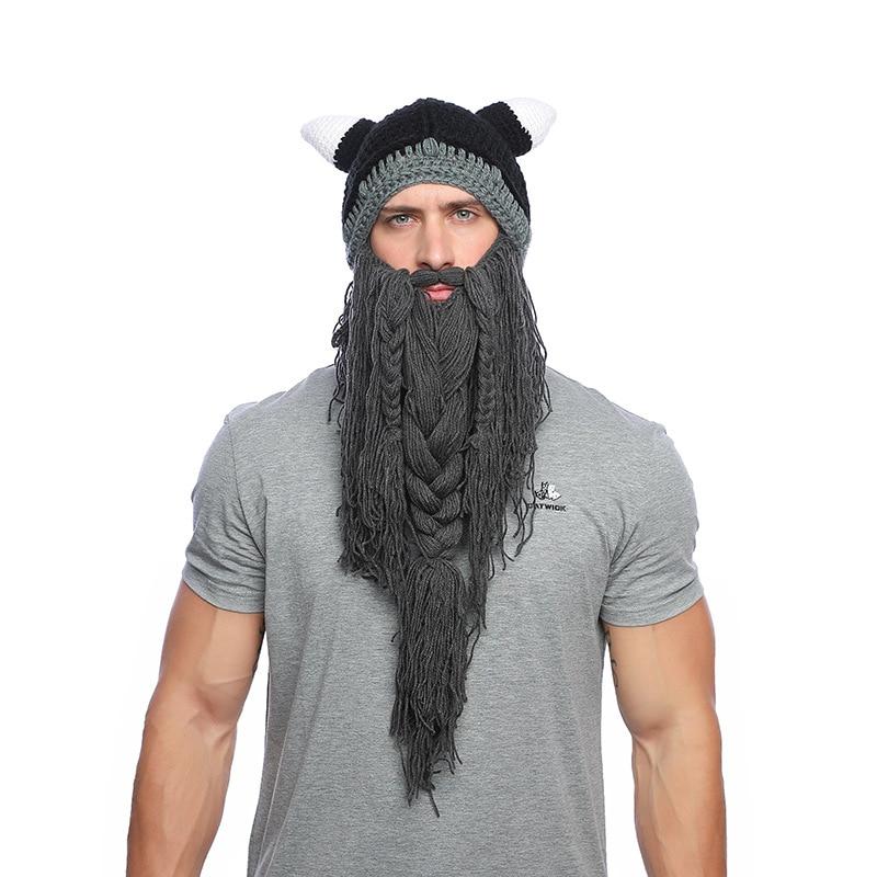 a3cc7367 MNKNCL Men Barbarian Vagabond Viking Beard Beanie Horn Hat Handmade ...