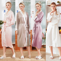 Women new silk pajama lady spring and summer home full sleeve ankle length female robes bath robe bridesmaid robes satin robe