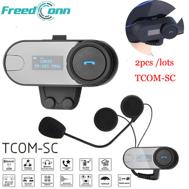FreedConn 2pcs Motorcycle Bluetooth Headset TCOM-SC Moto Intercom With LCD Screen FM Soft Mic for Integral/Full Face Helmet long shape american country design wooden philippine dining table set