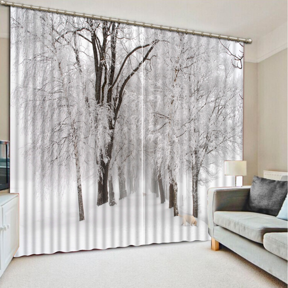 Us 60 28 56 Off Winter Snow Landscape Blackout Curtains Luxury Room Curtain Printed 3d Curtains For Window Decoration In Curtains From Home Garden