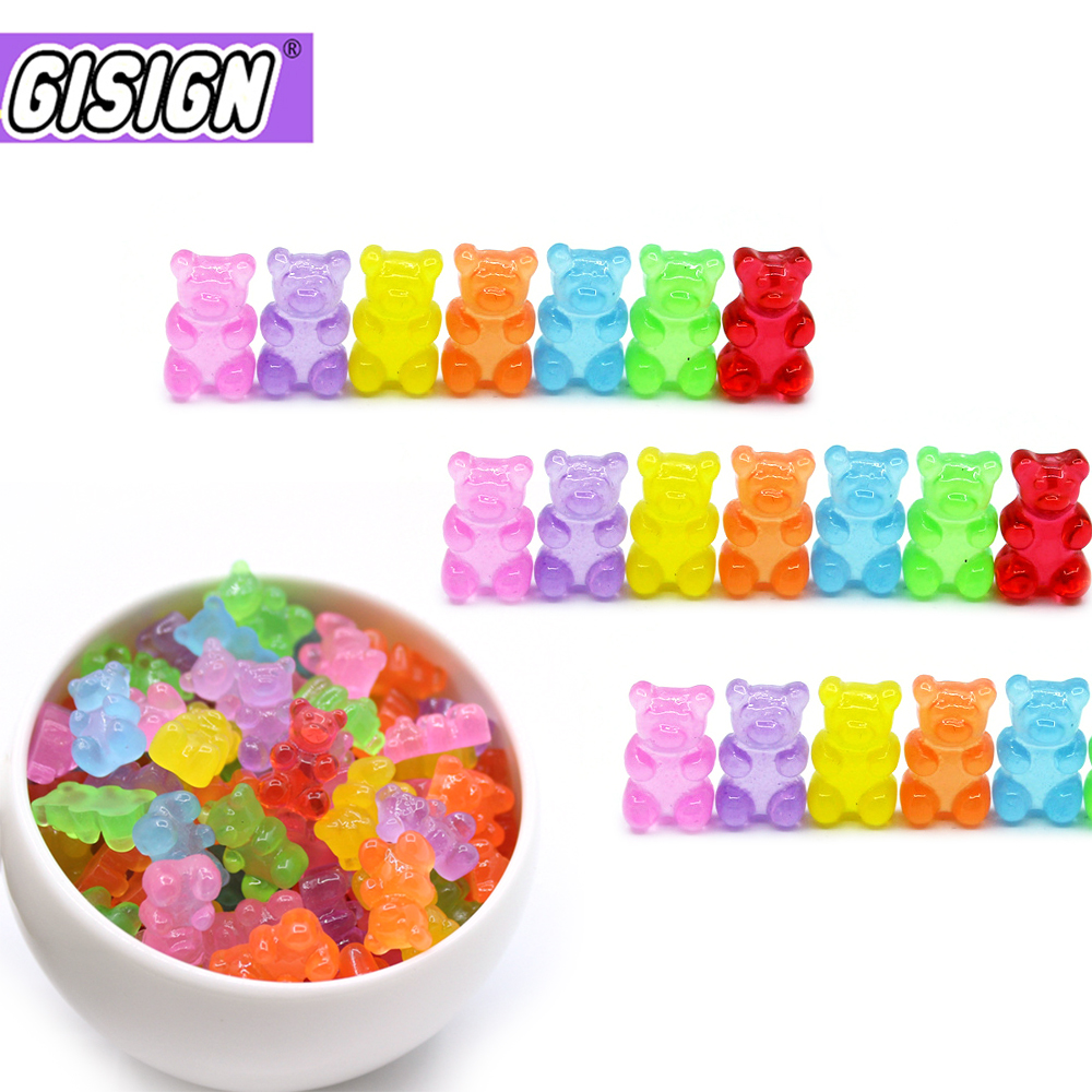 10Pcs Bear Charms For Slime DIY Candy Polymer Bead Filler Addition Slime Accessories Toys Lizun Modeling Clay Kit For Children