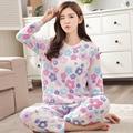 2016 Winter Pyjamas Women Warm Pajamas Sets Stitch Pijama Unicornio Snow Flower Pattern Femme Homewear Pijamas Mujer Sleepwear