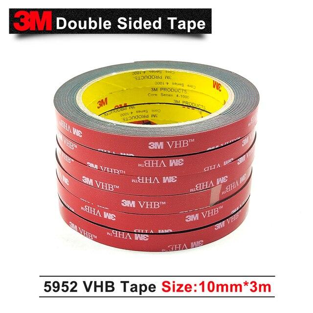 3M VHB 5952 épaisseur 1.1mm | Bande pour montage de mousse acrylique double face, bande en mousse acrylique, noir, 10mm * 3m/1 rouleaux/Lot