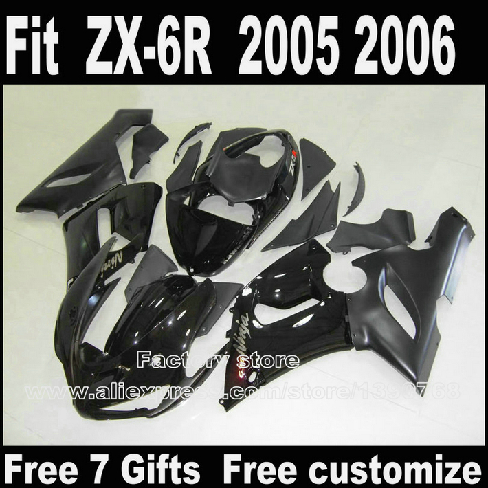 High quality Body kit for Kawasaki ZX6R fairing kits 2005 2006 all black Parts 05 06 Ninja 636 fairings SU3+7gifts motorcycle fairing kit for kawasaki ninja zx10r 2006 2007 zx10r 06 07 zx 10r 06 07 west white black fairings set 7 gifts kd01