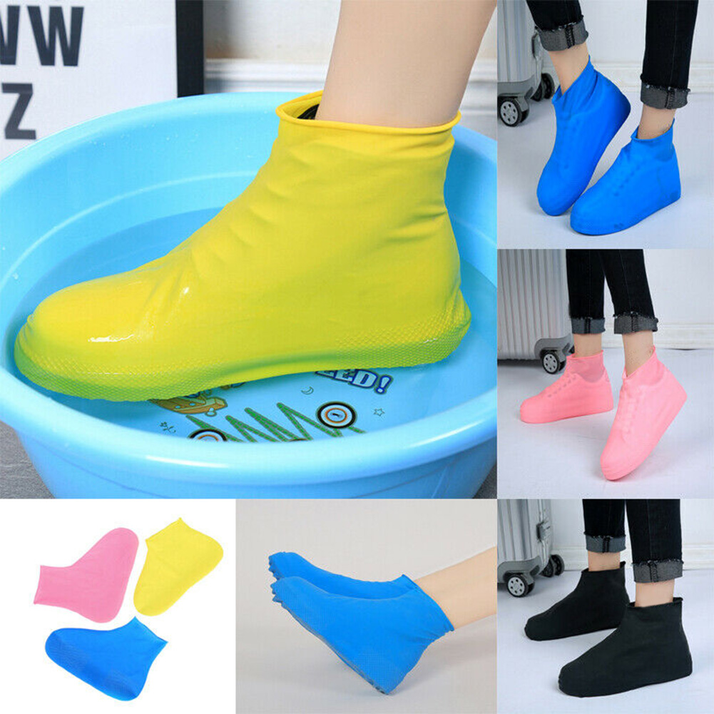 Non-slip Waterproof Latex Rain Boots Shoe Cover Reusable Overshoes Shoes S / M / L Shoe Accessories LE66