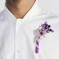 DIY Prywatne zwyczaj wykonane starszy corsages oczyszczenie boutonniere Kryształ perła broszka Rhinestone Srebrny fioletowy Mężczyźni best man stanik