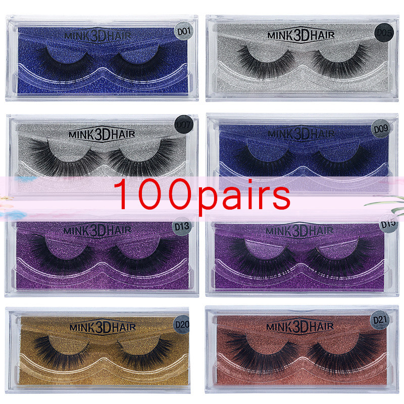 Wholesale 100pairs Eyelashes Mink False Eyelashes Handmade Mink Collection 3D Dramatic Lashes 15 Style Glitter Packaging 21pcs set stylish density lengthening soft handmade fabulously false eyelashes drop shipping wholesale