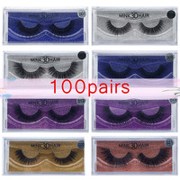 Wholesale 100pairs Eyelashes Mink False Eyelashes Handmade Mink Collection 3D Dramatic Lashes 15 Style Glitter Packaging