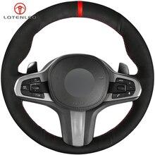 LQTENLEO черная замша DIY автомобиля Руль Обложка для BMW G30 525i 530i 530d M550i M550d G32 630i 640i G11 G12