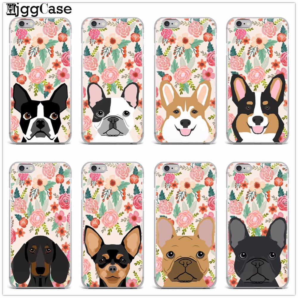 Cute Animals Dachshund French Bulldog Labrador Welsh Corgi Florals Spring Flowers Soft Iphone X 5 5S SE 6 6S 7 8 Plus