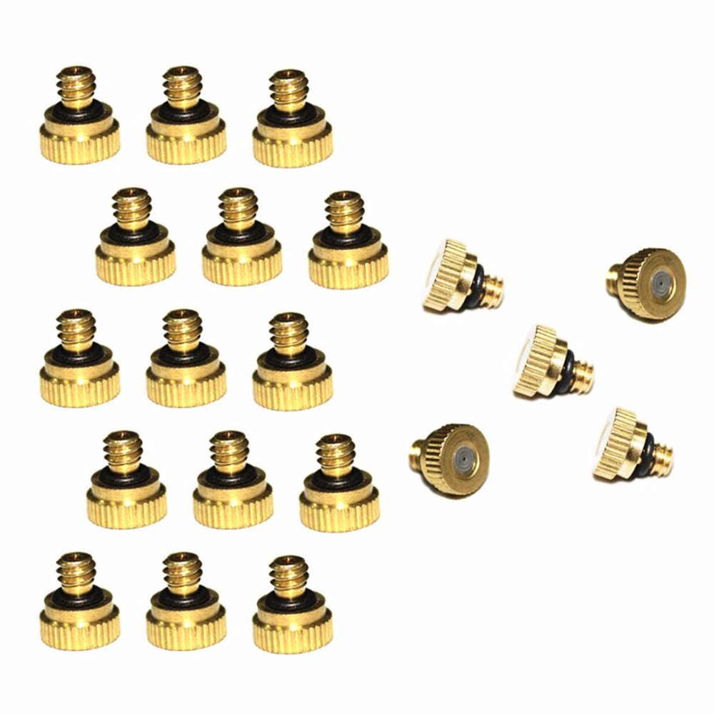 0.4mm Good 20pcs/pack 0.016 Orifice Thread Unc 10/24 Brass Misting Nozzles For Outdoor Cooling Greenhouse Irrigating System Soft And Antislippery