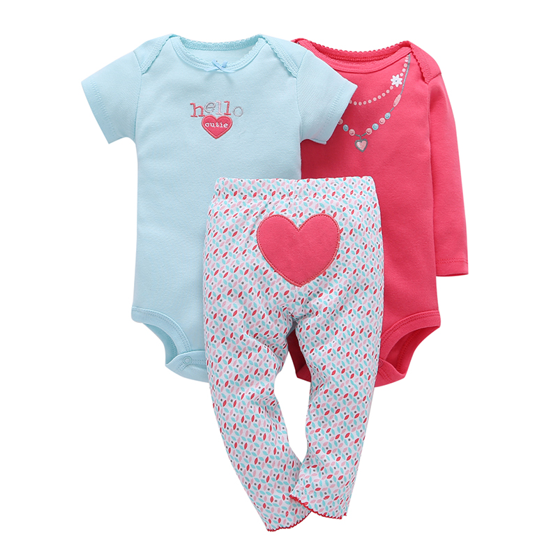 Infant 0-2Y Baby Boy girl 3 Pieces Sets Character LOVE Striped Short Sleeve One Piece Romper Full Length Pants New Brand 2017 new baby boy cloth 3 pieces lot