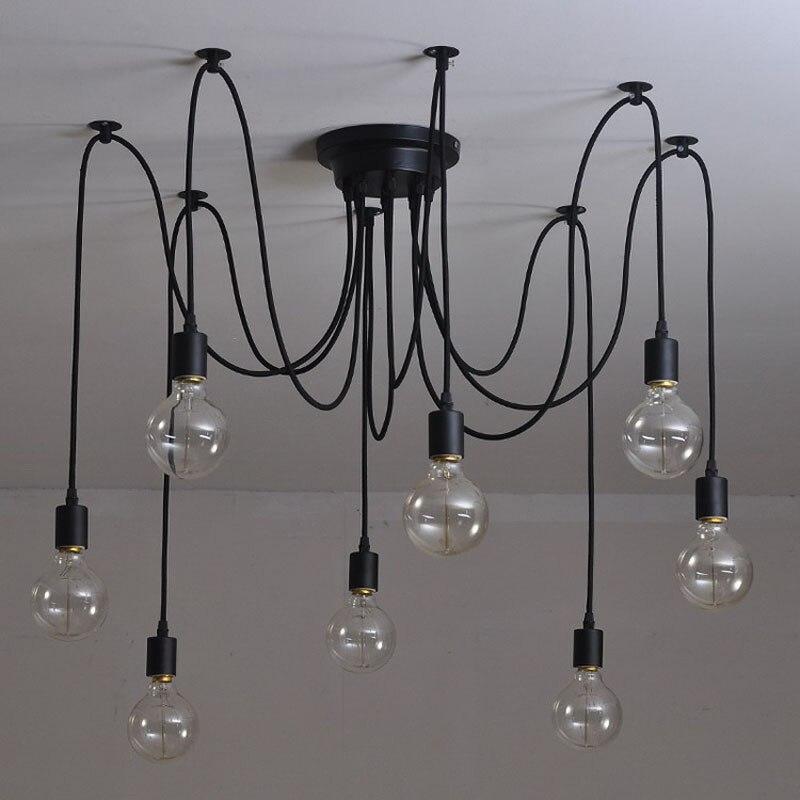 Plafonnier suspendu rétro au design d'une araignée, design nordique moderne, article Vintage Art déco d'intérieur, ampoules Edison E27, bricolage un Loft