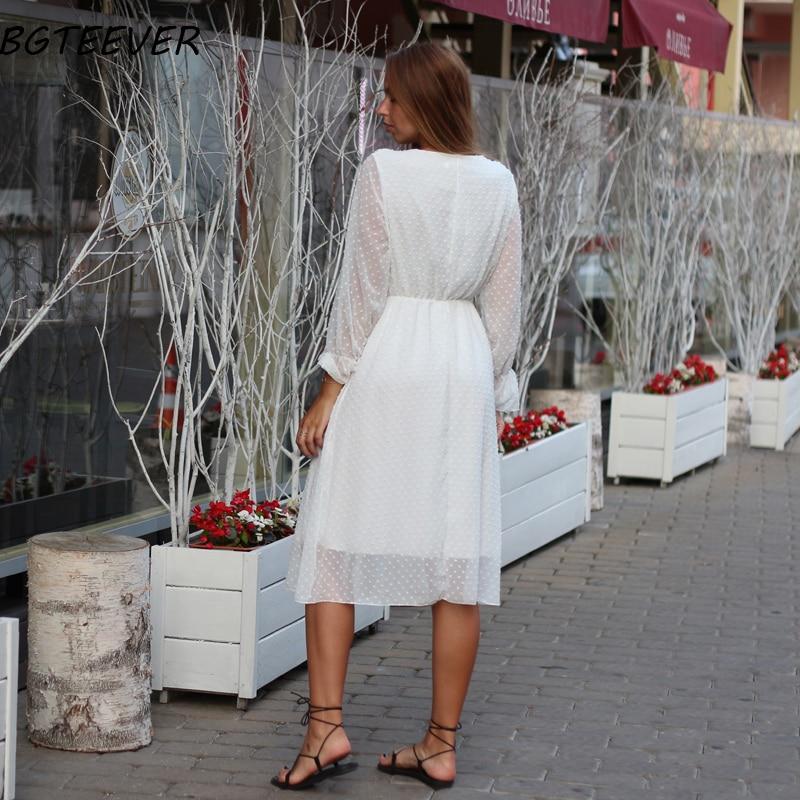 BGTEEVER Ruffles Polka Dot Women Chiffon Dress Elastic Waist Flare Sleeve Female Long Vestidos A-line White Dress 19 11