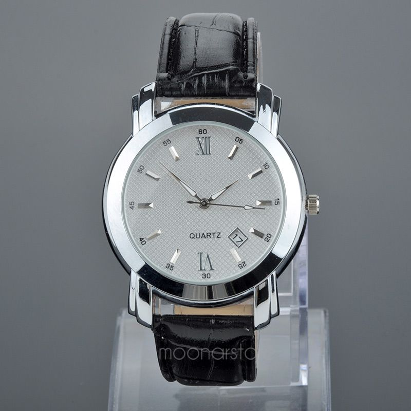 Men's Quartz Watch Roman Dial Calendar Watch Mens Elegant Leather Black Analog Quartz Sports Wrist Watch Relogio Masculino цены онлайн