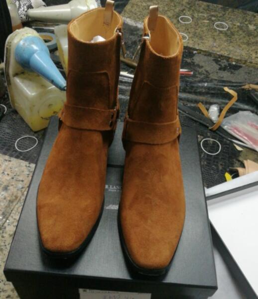 Chelsea Botas Mujer Doble Zapatos Tacón Pic Hebillas Hombre Fr De Lancelot Marrón Tiras Real Hombres As Caliente Los Cuadrado ASqYwXf