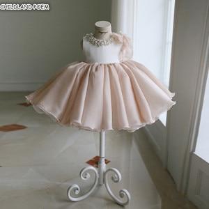 Платье для девочек, платье принцессы на день рождения, свадьбу, вечеринку, платье-пачка с жемчужинами для девочек-подростков, Крещение, Крещ...