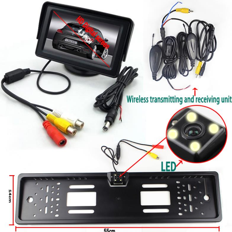 ФОТО Wireless Transmitter Car Styling Parking System with 4.3''  Monitor Black License Plate Reversing Camera