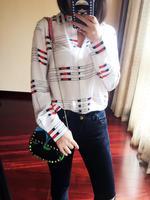 New 100% silk white blue fresh striped print women long sleeve shirt lady silk blouses spring autumn
