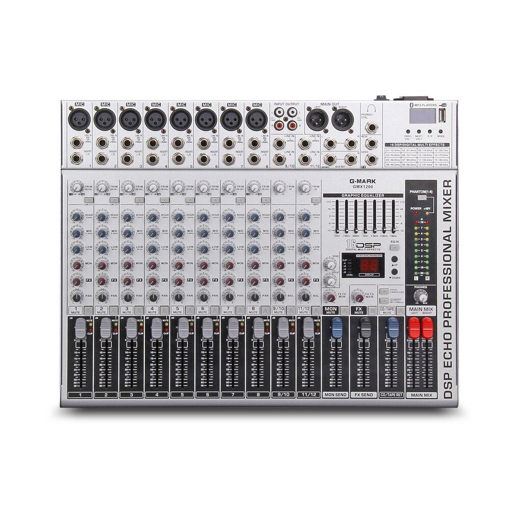 G-MARK GMX1200 Professional audio mixer mischpult dj Studio 12 kanäle 8 mono 4 stereo 7 marke EQ 16 wirkung USB Bluebooth