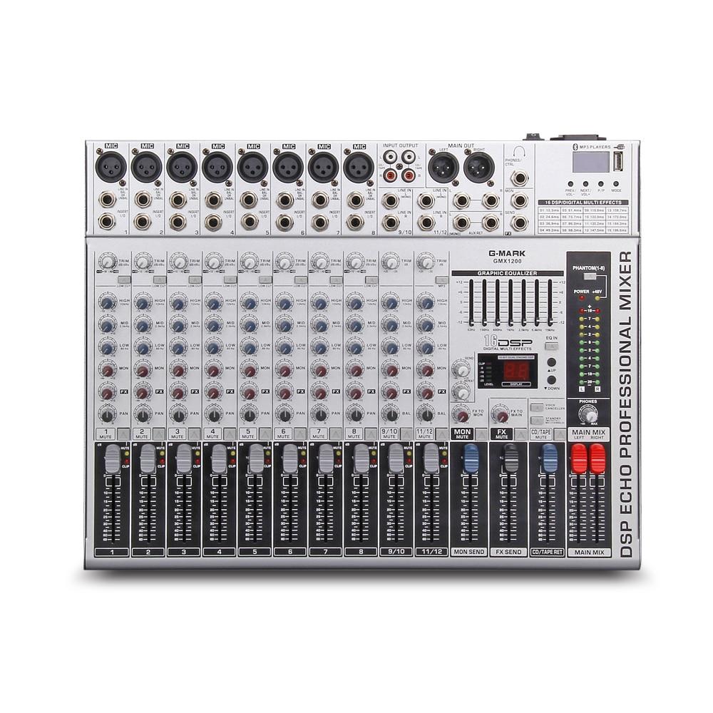 G-MARK GMX1200 Professional audio mixer mischpult dj Studio 12 kanäle 8 mono 2 stereo 7 marke EQ 16 wirkung USB Bluebooth