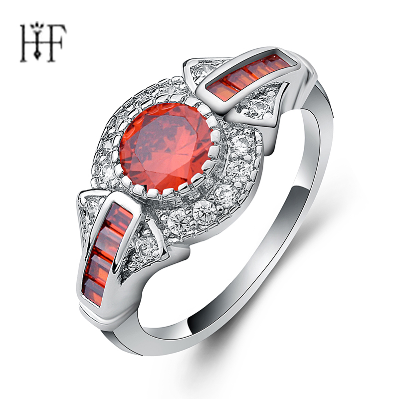 Fashion Silver Color rings for Women with oval Red Cubic Zirconia crystal aneis anel bague Trendy jewelry Female Finger Ring gorgeous faux crystal oval bracelet with ring for women