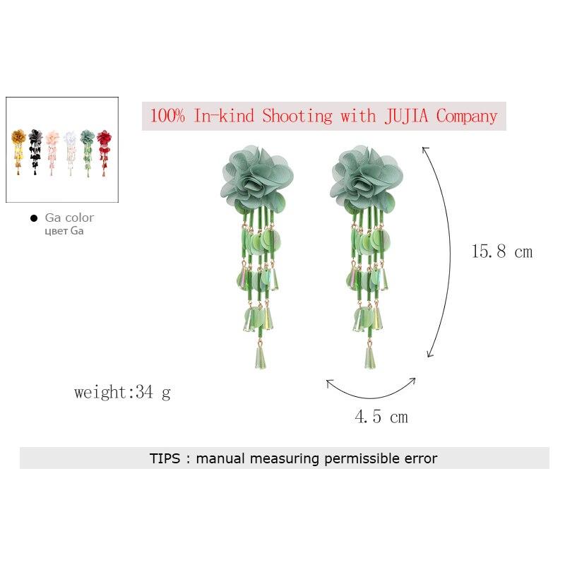 JUJIA Bohemian Long Flower Earrings Pom Pom Big Statement Earrings Fringe Drop Earrings Women Jewelry 19